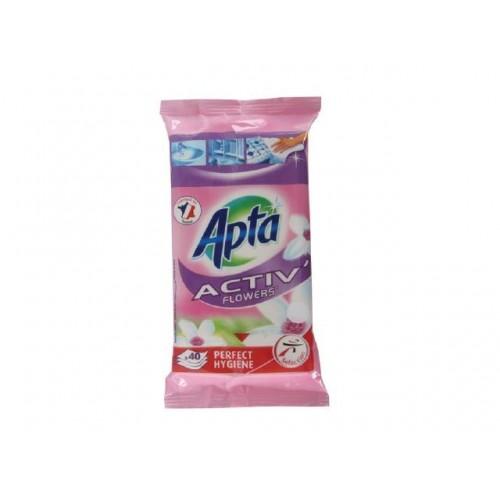 Импрегнирани антибактериални мокри кърпи Apta Цветя