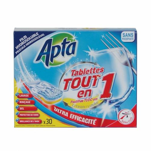Таблетки за съдомиялна Apta всичко в 1 с аромат на лимон х 30бр